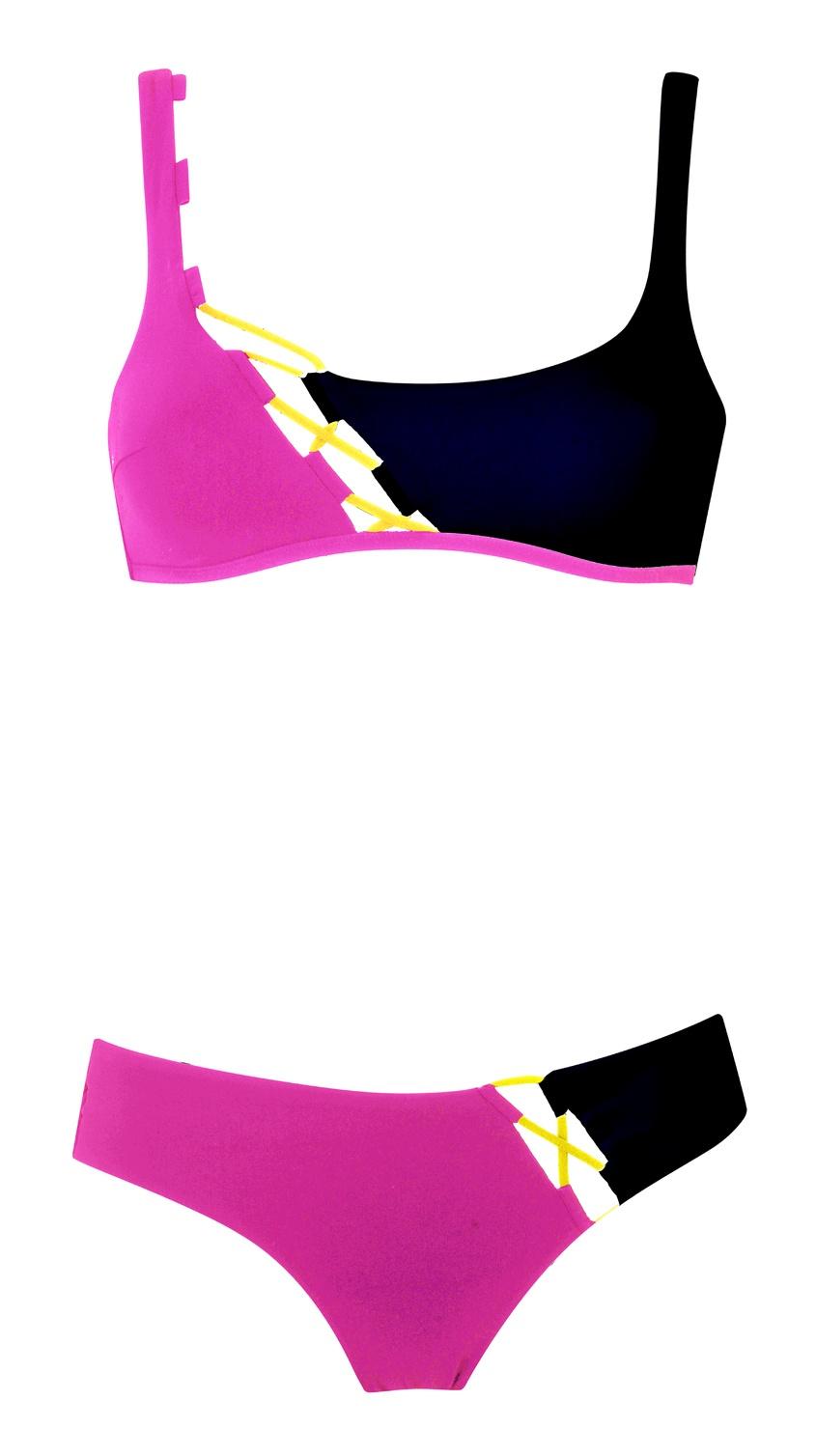 Бюстгальтер купальника JojoSale Бикини<br>Почувствуйте себя воплощением игривого, спортивного и сексуального стиля 80-х в Jojo. Бюстгальтер лаконичного силуэта создан из гладких панелей черного и розового цветов, соединенных желтой шнуровкой. Чашки с поддерживающими швами, косточки по бокам, регулируемые бретели и незаметная подкладка из тонкого тюля обеспечивают превосходную посадку по фигуре. Завязка сзади завершает образ. Сочетайте с плавками Jojo.<br><br>Возраст: Взрослый<br>Размер AP: M (3 AP)<br>Цвет: розовый<br>Пол: Женское<br>Материал: черная: 76% полиамид 24% эластан розовая: 81% полиамид 19% эластан сеточка: 100% полиамид