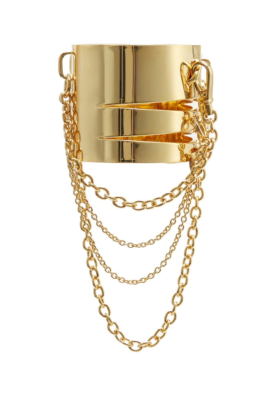 Браслет JocastaНаручники и браслеты<br>Jocasta - сверкающая яркая коллекция металлических аксессуаров с позолотой. Массивный браслет с прорезями декорирован отстегивающимися цепочками. Дополните образ колье Jocasta.<br><br>Возраст: Взрослый<br>Размер : UN<br>Цвет: Золотой<br>Пол: Женское<br>Материал: латунь покрытие