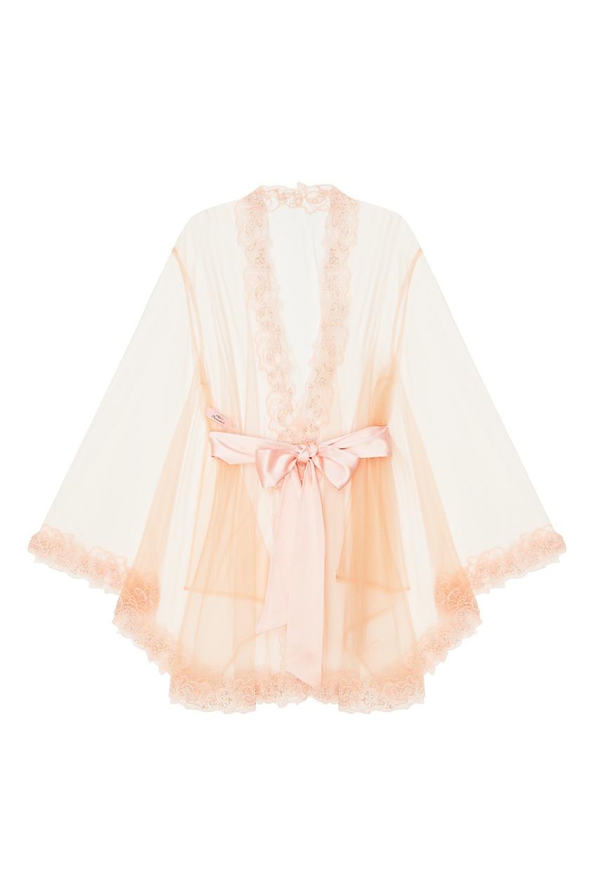 Халат Lindie розовыйХалаты и кимоно<br>Озорной, роскошный и манящий комплект Lindie украшен изысканным флоральным кружевом, вышитом на прозрачном итальянском тюле. Узоры кружева подобны татуировке на обнаженном теле. Классический халат-кимоно декорирован ручной вышивкой из розового стекляруса вдоль рукавов и по подолу. Отделка из розового гладкого сатина и шелковый пояс завершают образ.<br><br>Возраст: Взрослый<br>Размер INT: M/L<br>Цвет: розовый<br>Пол: Женское<br>Материал: 100% полиамид вышивка: 48% вискоза 38% хлопок 14% полиэстер